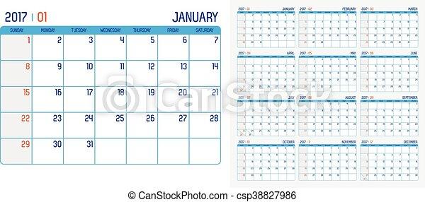 vector of calendar 2017 year 12 month calendar with simple basic