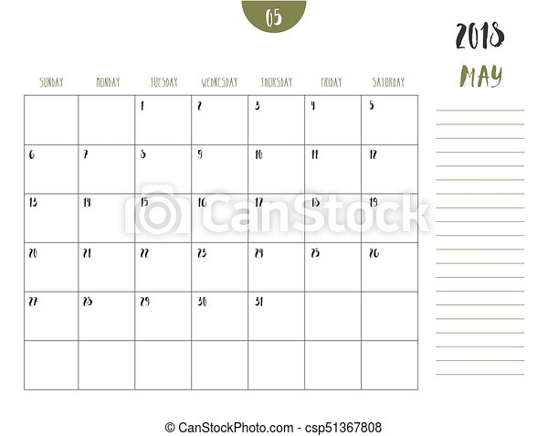 Vector of calendar 2018 ( may ) in simple clean table style with
