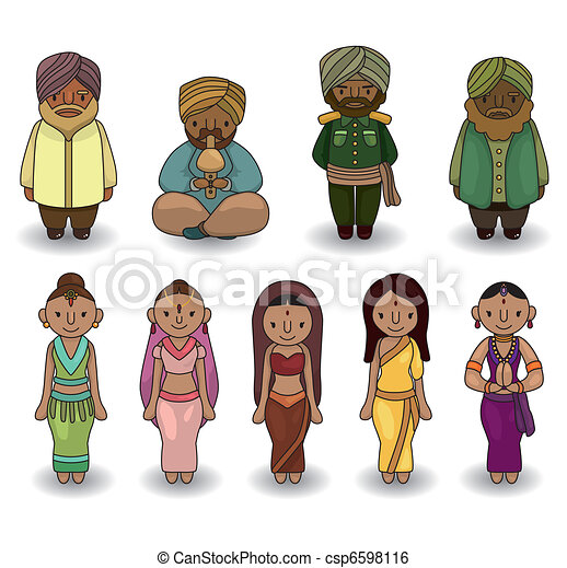 Vector of cartoon Indian icon set - csp6598116