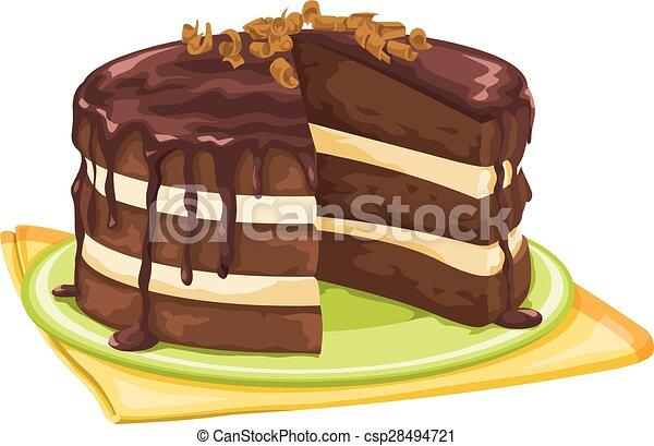 Chocolate Cake Line Drawing