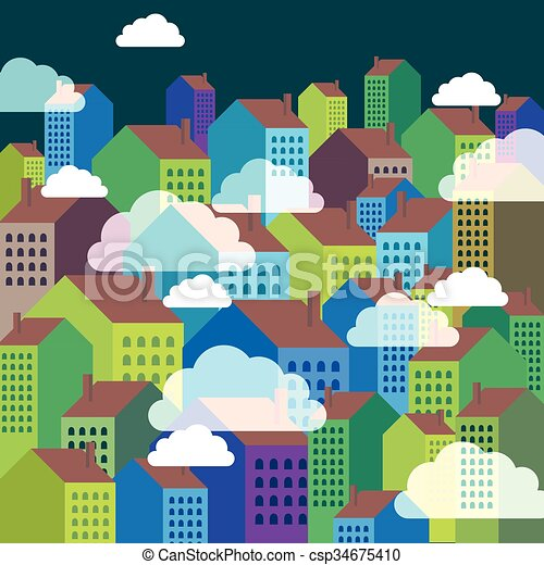 Vector of colorful city skyline - csp34675410