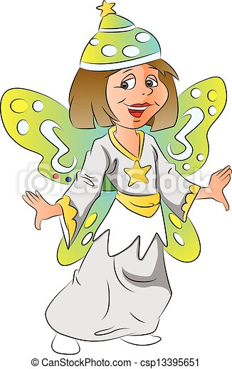 Vector of girl in fairy costume. - csp13395651