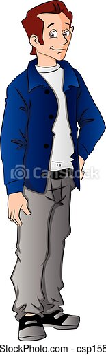 Vector of handsome young man with hand on hip. - csp15801824