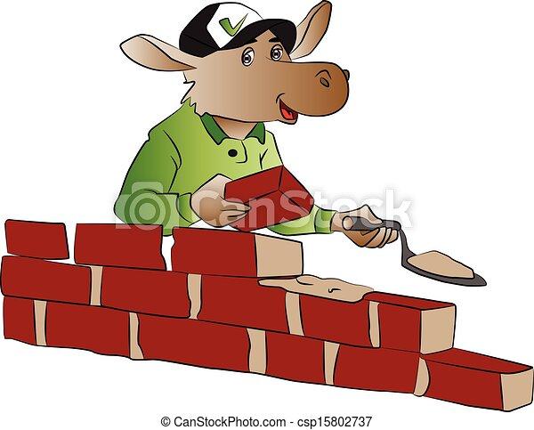 Vector of hippopotamus building a brick wall. - csp15802737