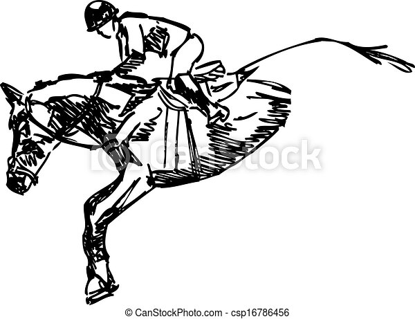 Vector Of Horse And Rider Jumping Isolated Vector Illustration