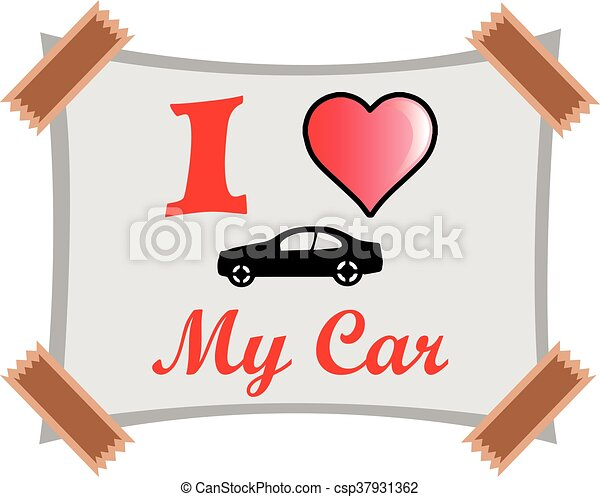 vector of i love my car clip art vector search drawings and rh canstockphoto com Valentine Heart Clip Art Valentine Heart Clip Art