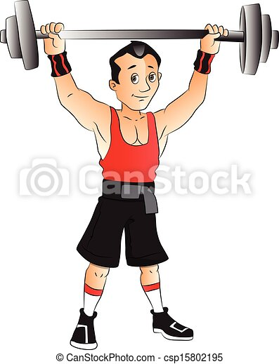 vector of man doing weightlifting vector illustration of young man