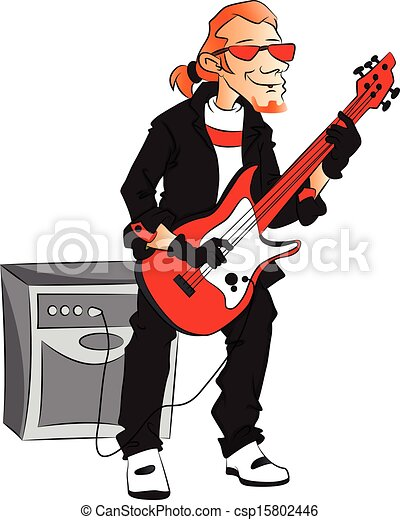Vector Of Man Playing Electric Guitar