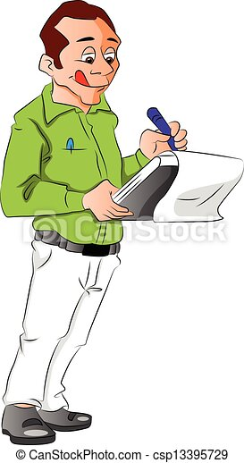 vector of man writing notes vector illustration of a man vector rh canstockphoto co uk Writing Clip Art of Someone Work On Writing Clip Art