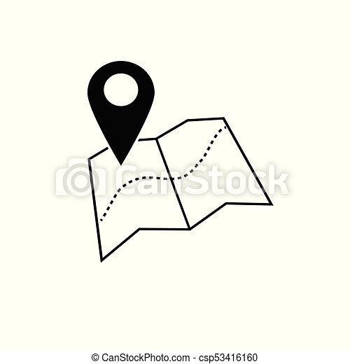 vector of map pointer icon gps location symbol flat design style