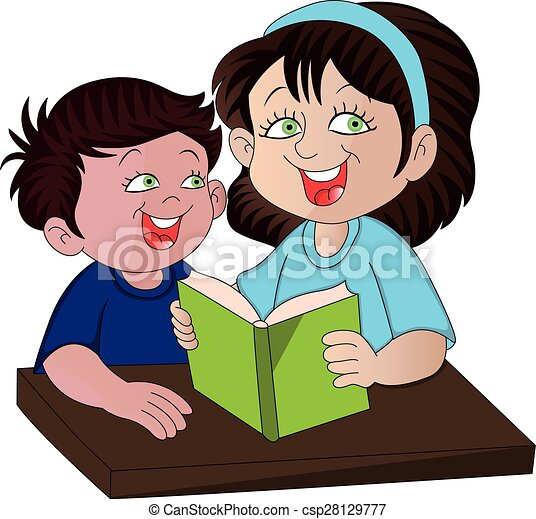 Vector of mother helping her son with studies. - csp28129777