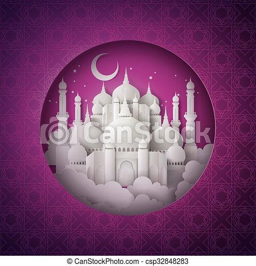 Vector of paper Mosque. - csp32848283