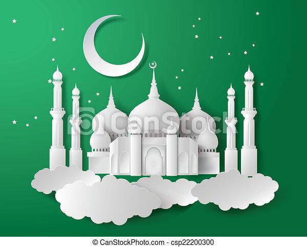 Vector of paper Mosque. - csp22200300