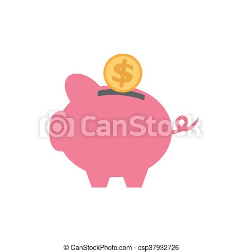 vector of piggy with currency - csp37932726