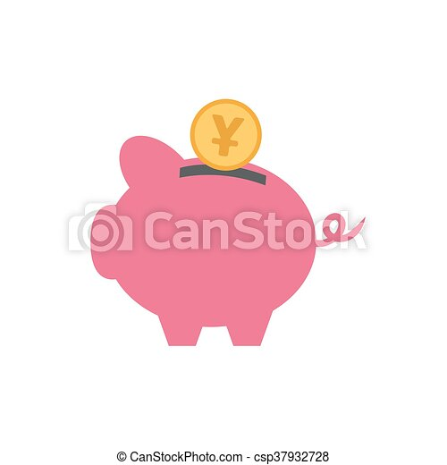vector of piggy with currency - csp37932728