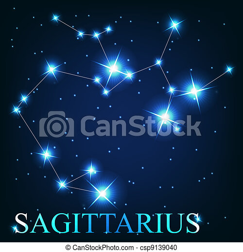 vector of the sagittarius zodiac sign of the beautiful bright stars on the background of cosmic sky - csp9139040