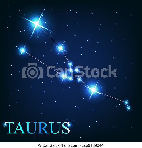 vector of the taurus zodiac sign of the beautiful bright stars on the background of cosmic sky - csp9139044