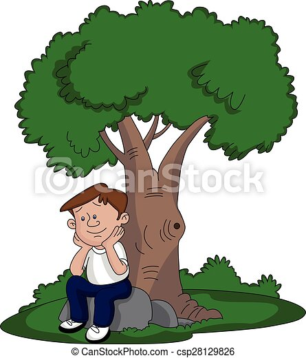 Vector of thoughtful man sitting under a tree. Vector ...