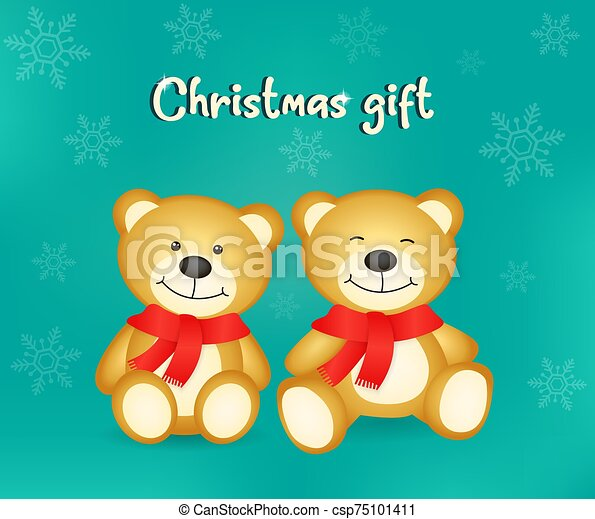 Vector of two little brown bears very cute - csp75101411