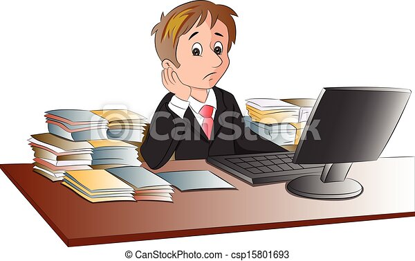 Vector of unhappy businessman's desk invaded with documents. - csp15801693