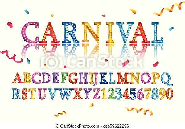 Vector Of Vintage Carnival Font And Alphabet 10 Eps