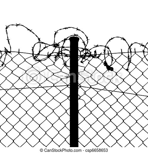 vector of wired fence with barbed wires - csp6658653
