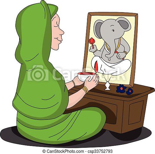 Vector of woman worshipping lord Ganesha. - csp33752793