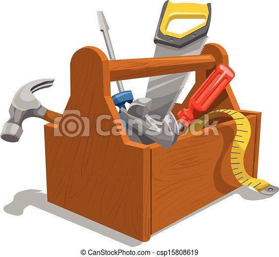 Vector of wooden toolbox with tools. - csp15808619