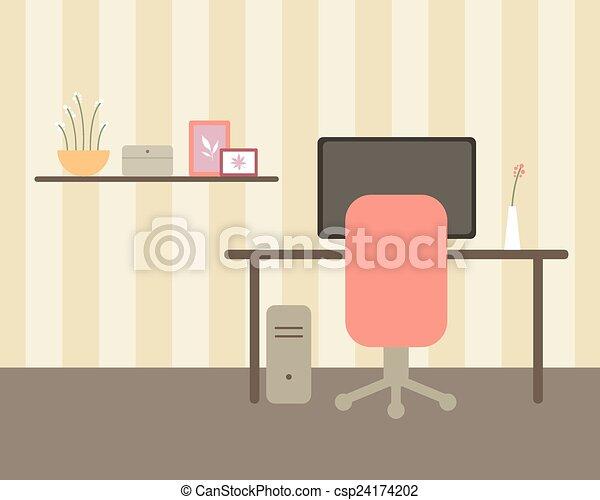Vector office room. Vector illustration of an office room vector ...
