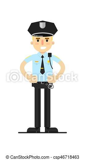 Oficial de policía con ilustración vectorial uniforme - csp46718463