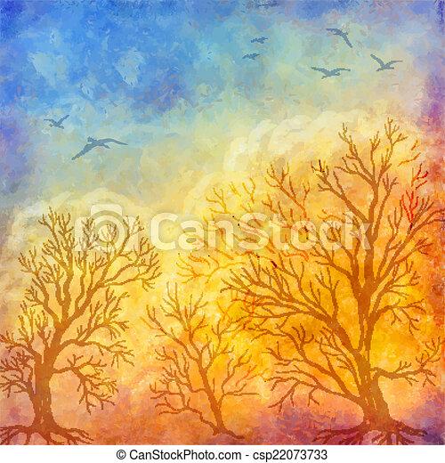 Vector oil painting autumn trees, flying birds - csp22073733