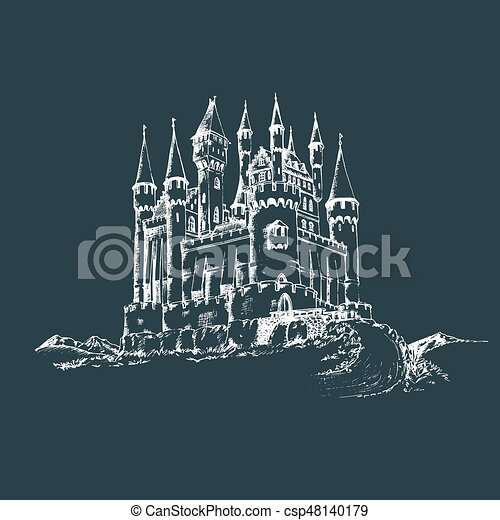 Vector Old Castle Illustrationgothic Fortress Backgroundhand Drawn Sketch Of Landscape With