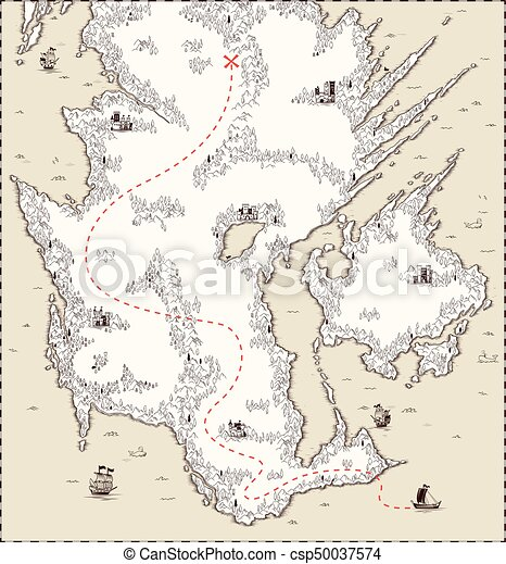Vector Old Map Pirate Treasure