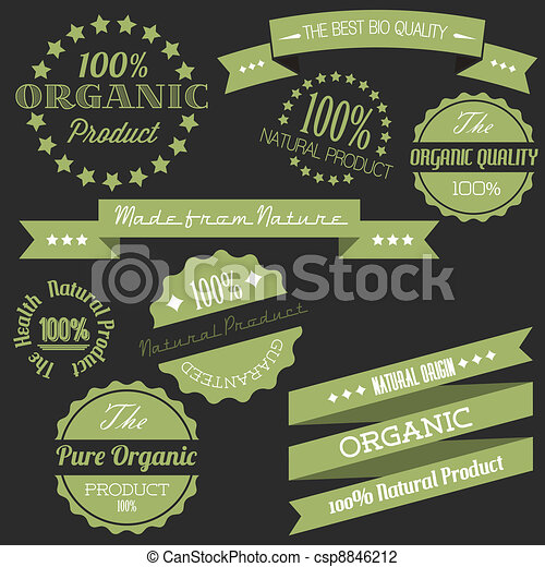 Vector Old retro vintage elements for organic natural items - csp8846212