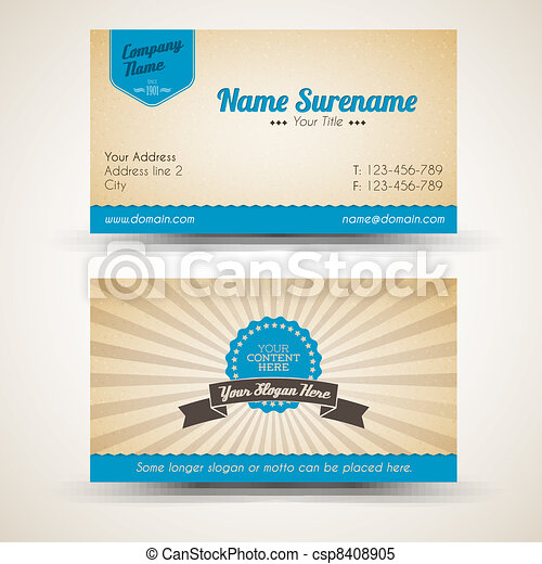 Vector old-style retro vintage business card - csp8408905