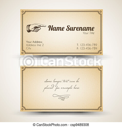 Vector old style retro vintage business card both front and back side vector old style retro vintage business card reheart Choice Image