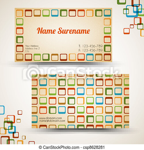 Vector old-style retro vintage business card - csp8628281