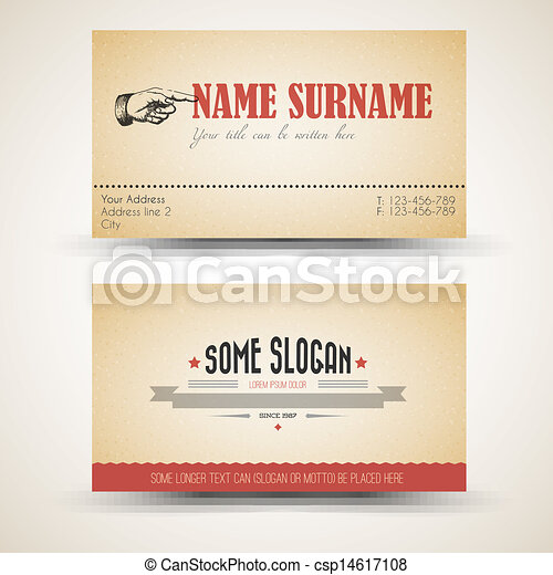 Vector Old Style Retro Vintage Business Card Template Both Front