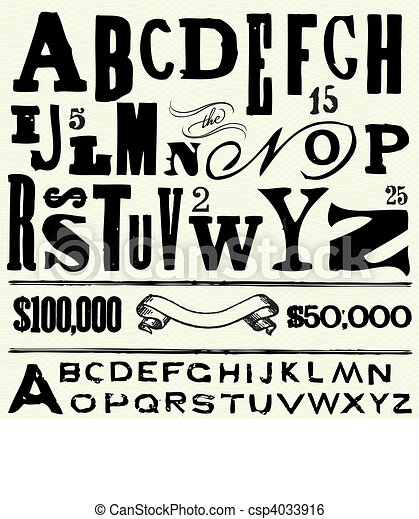 Vector Old Type and Alphabet - csp4033916