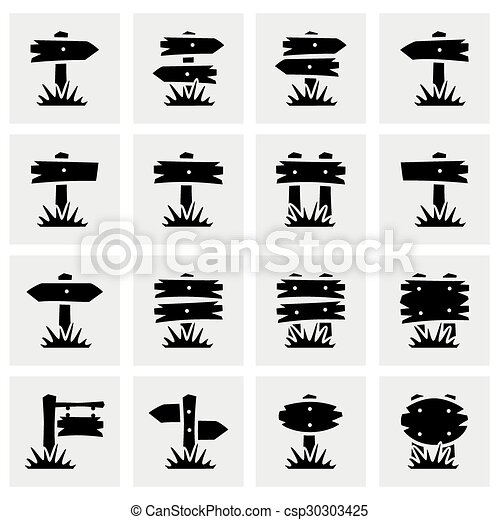 Vector Old wood sign icon set - csp30303425