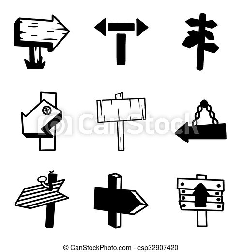 Vector old wood sign icon set - csp32907420