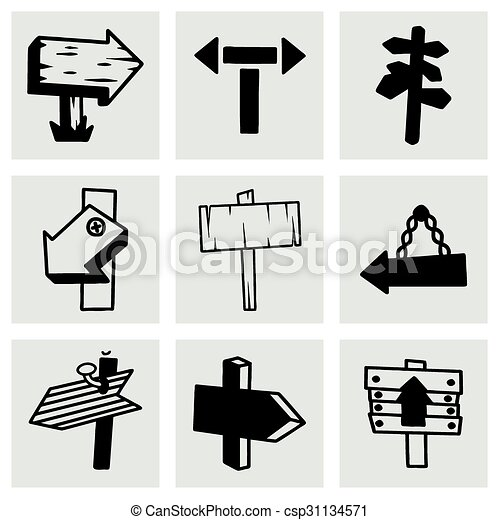 Vector old wood sign icon set - csp31134571