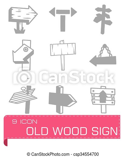 Vector old wood sign icon set - csp34554700