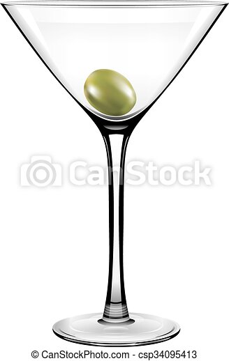 Vector Olive Martini Glass On A White Background