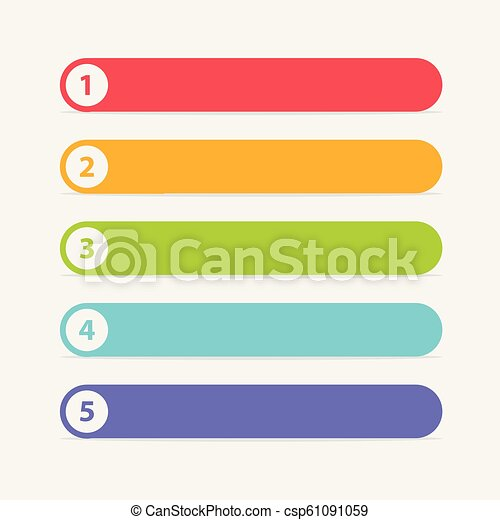 Vector One Two Three Four Five steps, progress or ranking banners with  colorful tags