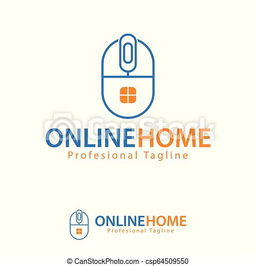 Vector Online Home Design Template Logo Iconic Symbols Its Design Simple Combination Mouse Computer And House Window You Canstock