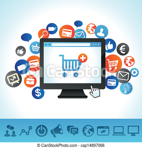 vector online shopping concept computer and techology icons rh canstockphoto com clipart online shopping clipart online fish