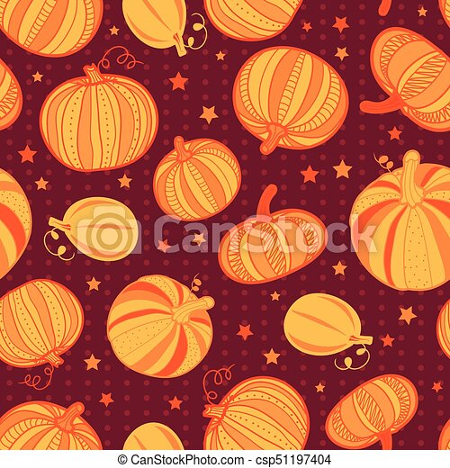 Vector orange dark red pumpkins polka dots seamless repeat pattern background. Great for fall themed designs, invitation, fabric, packaging projects. - csp51197404