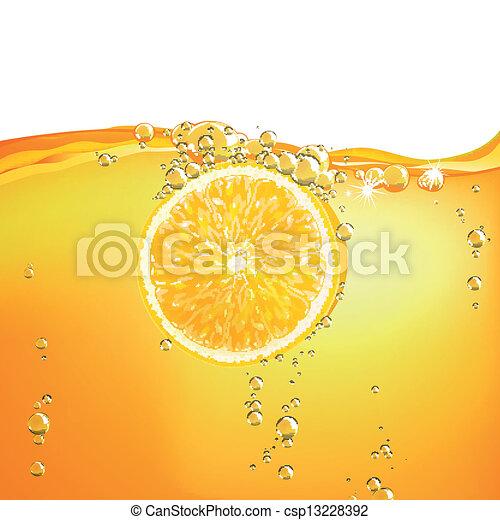 Vector Orange Fruit falling in liquid - csp13228392