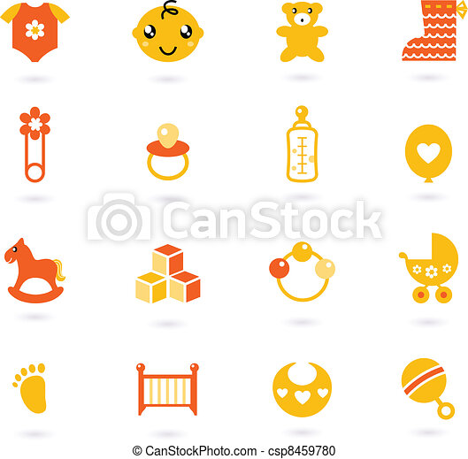 Vector orange Icons collection for baby isolated on white - csp8459780